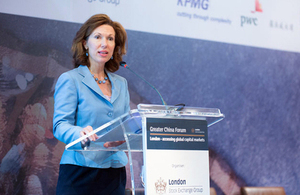 Consul General Caroline Wilson addressed the London Stock Exchange's Greater China Forum