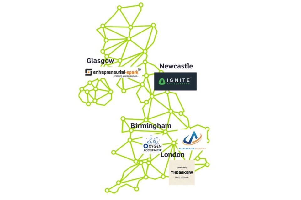Map showing where the Business Accelerators are located in the UK