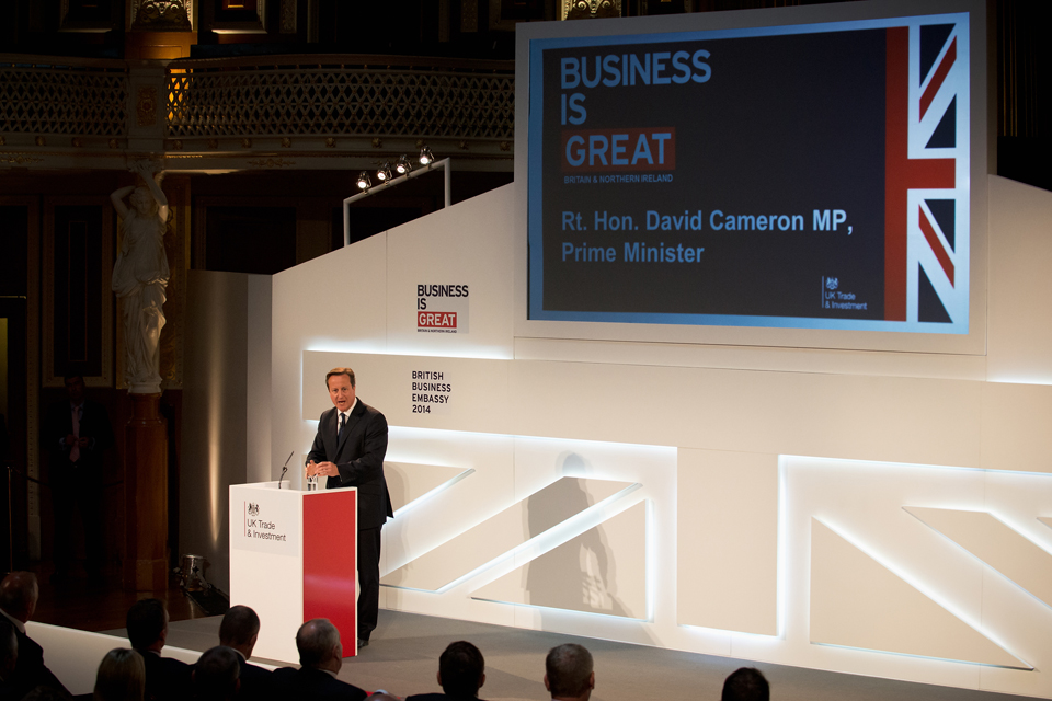 David Cameron giving his speech at the International Festival for Business
