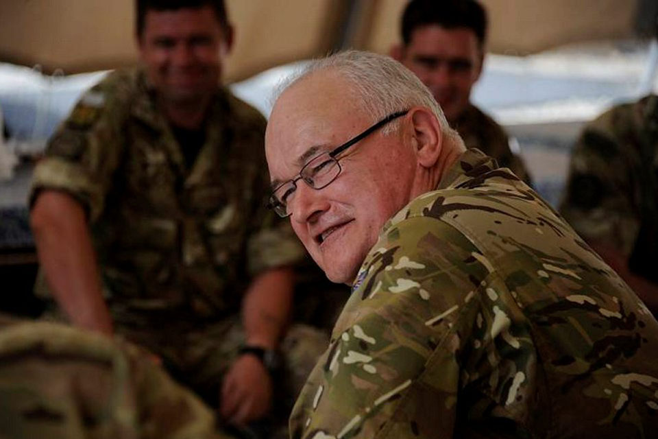 General Sir Peter Wall with troops in Afghanistan [Picture: MOD, Crown copyright]