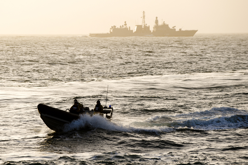 Pacific 24 rigid inflatable boat during a man over board exercise
