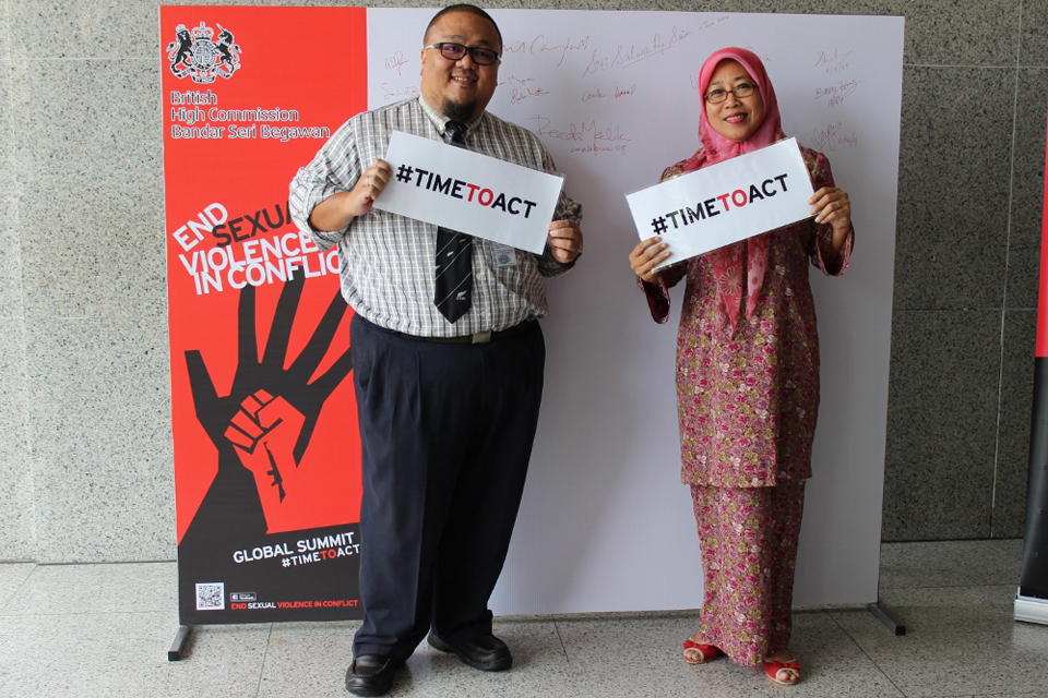 Chevening Alumni showing their support for #TimeToAct and ending sexual violence in conflict