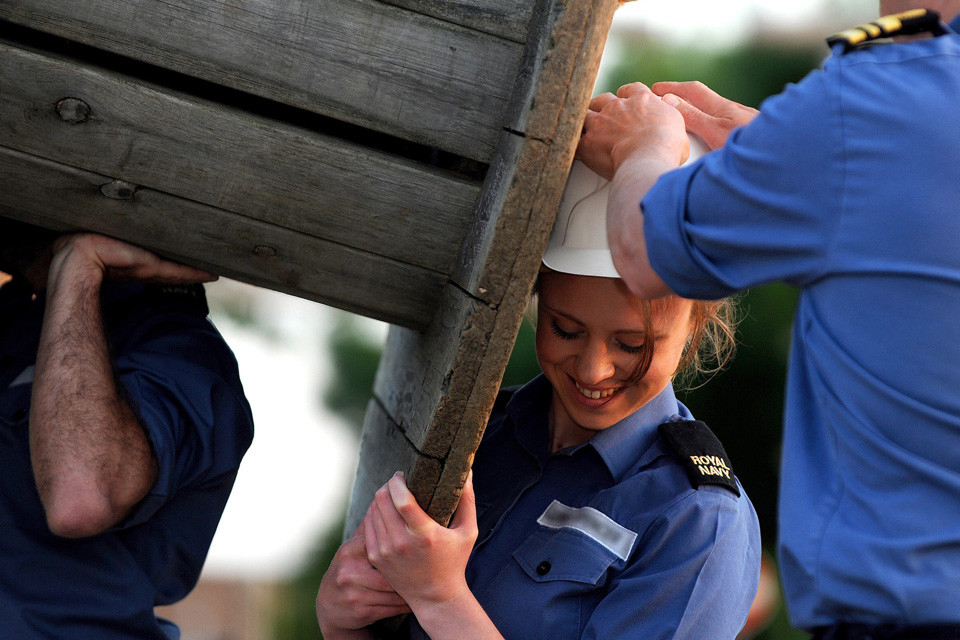 A Royal Navy reservist takes part in a leadership exercise