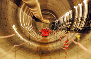Inside a completed Crossrail tunnel