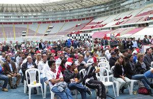 Football match at Estadio Nacional