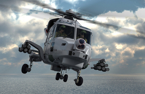 A computer-generated image of a Royal Navy Wildcat helicopter fitted with future anti-surface guided weapons (light) missiles [Picture: Copyright Thales]