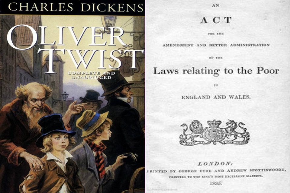 Book cover of Oliver Twist and the Poor Law Amendment Act.