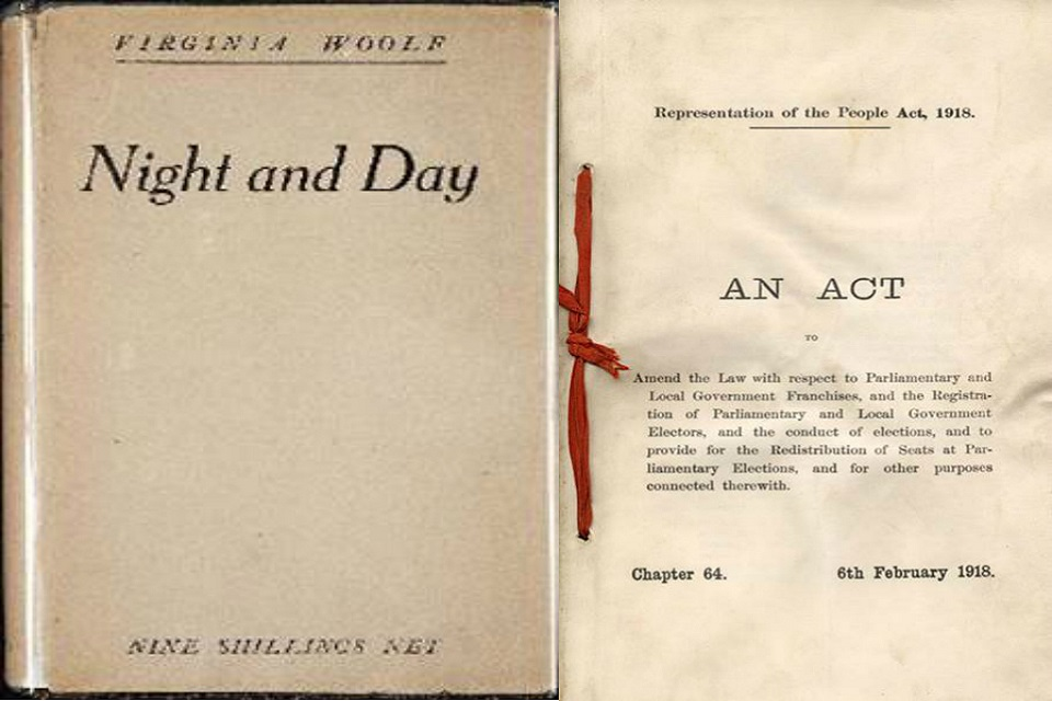 Cover of Night and Day by Virginia Woolf, next to the Representation of People Act.