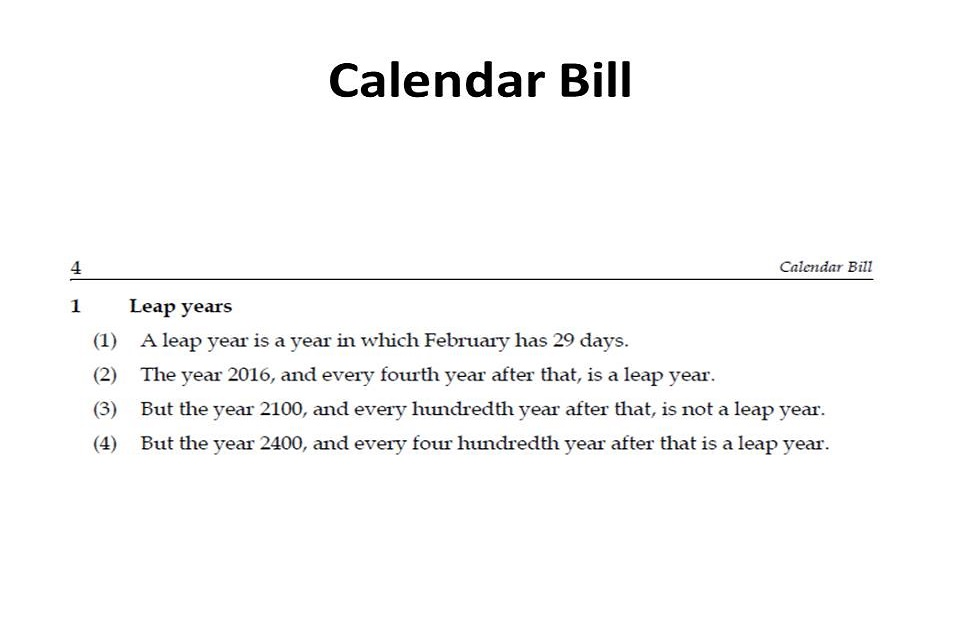 Part of the text from the Calendar Bill broken down into 4 short statements about leap years.