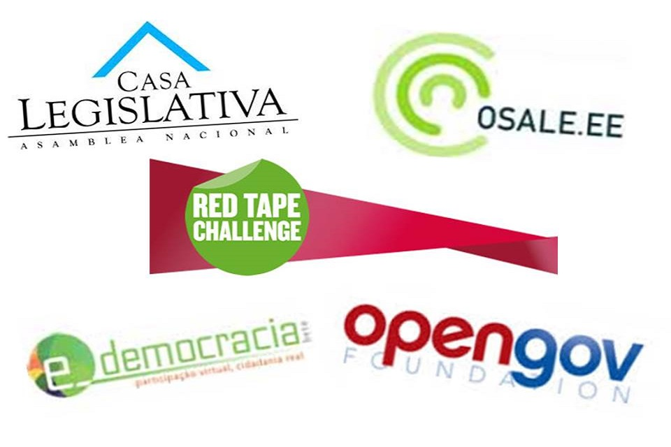 Logos of open policy-making projects: Casa Legislativa; Osale.ee; Red Tape Challenge; e-democracia; opengov foundation.