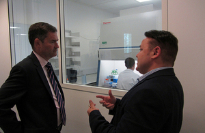 David Gauke talks to a local entrepreneur.