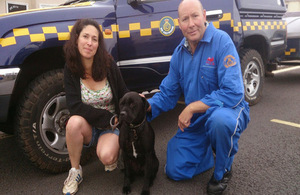 Harry with his relieved owner and John Bunce, Torbay CRT