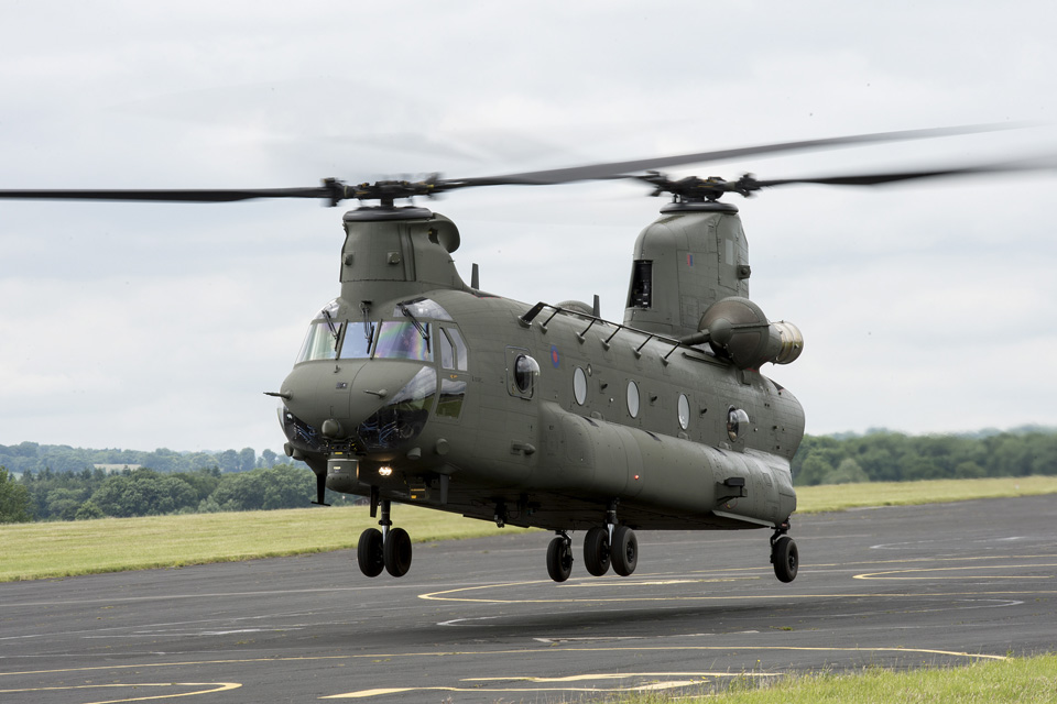 An RAF Mark 6 Chinook helicopter at RAF Odiham