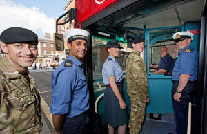 Reservists from all 3 services get on a bus in their military uniforms (library image) [Picture: Harland Quarrington, Crown copyright]