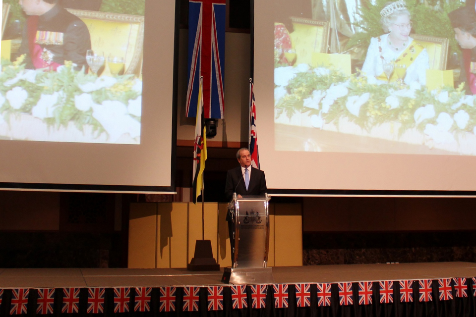 British High Commissioner David Campbell giving his welcoming speech