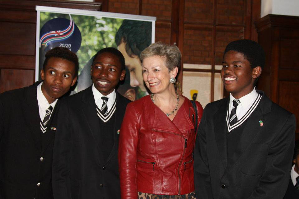 High Commissioner Judith Macgregor with school children