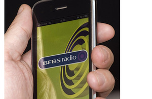 iPhone running the BFBS app