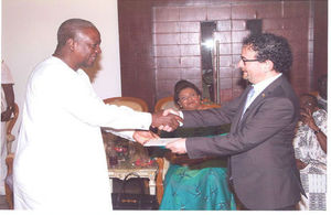 British High Commissioner Jon Benjamin presents his credentials