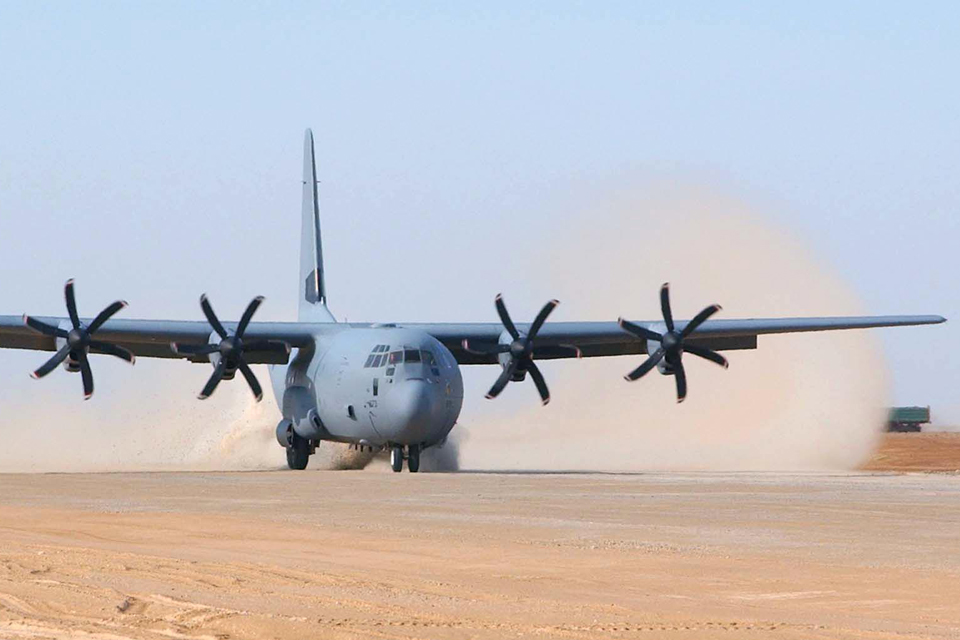 A C-130 aircraft lands at Camp Bastion