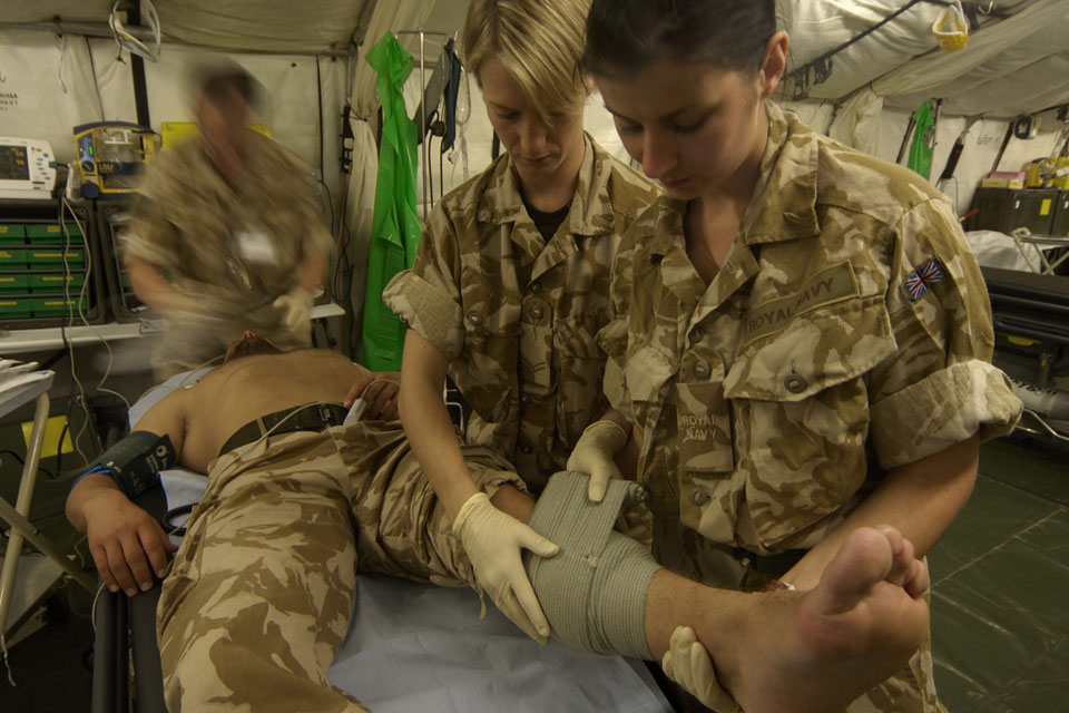 A Royal Marines commando is treated at Camp Bastion's medical facility