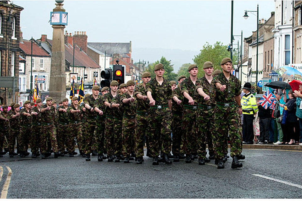 Soldiers of 2nd Battalion The Yorkshire Regiment march through the market town of Guisborough, North Yorkshire