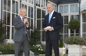 British Ambassador Sir Peter Ricketts and French minister for Foreign Affairs Laurent Fabius