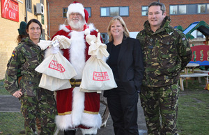 Santa arrives at Colchester Garrison with some News of the World's Toys for our Boys campaign presents for the children of 16 Air Assault Brigade who are on operations in Afghanistan