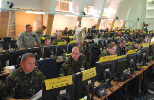 Mission training in the Combined Joint Operations Centre on a busy day