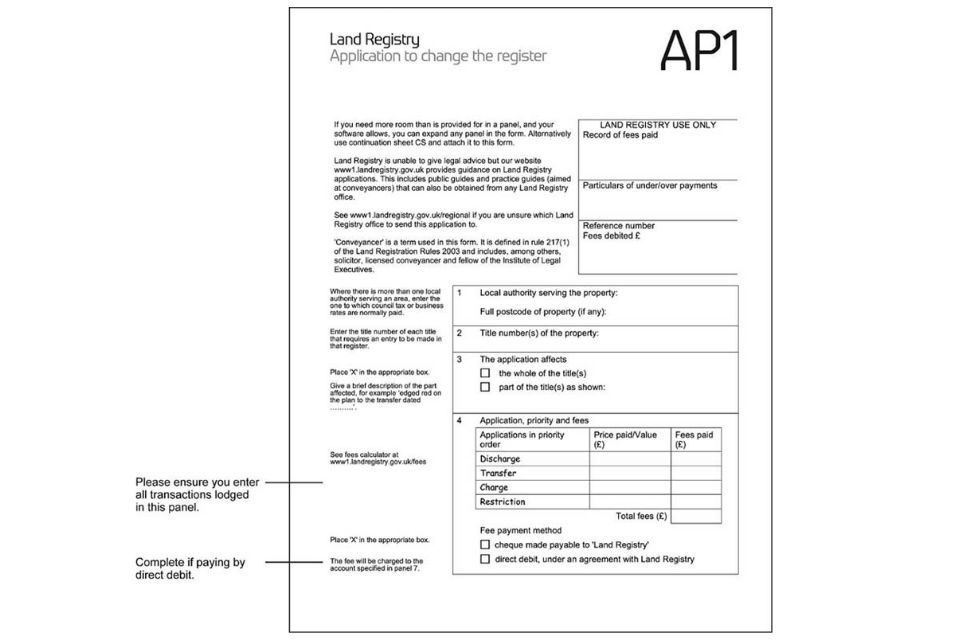 Example of completed form AP1: page 1