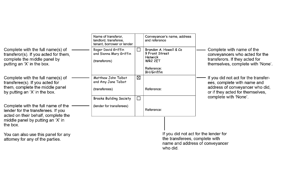 Example of completed form AP1: panel 13