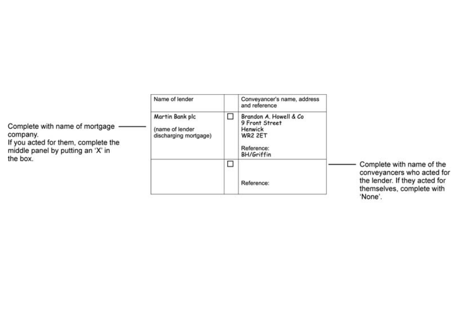 Example of completed form AP1: complete this section where a lender is not represented by a conveyancer