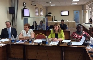 Ms Busola Johnson, HM Ambassador Judith Farnworth, Deputy Prosecutor General Lyudmila Usmanova at the seminar (from right)