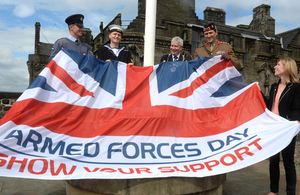 Service personnel prepare to raise the Armed Forces Day flag at Stirling Castle [Picture: Mark Owens, Crown copyright]