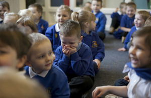 Primary school pupils laughing
