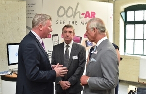 Andy Jackson (left), David Smith, (middle) and HRH - explaining Ooh-ARs successes overseas with their Augmented reality platform