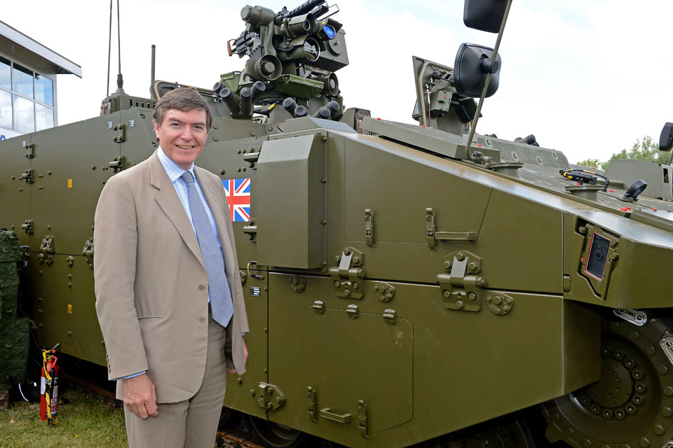 Philip Dunne with the new Scout specialist vehicle