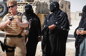 MOD Police Officer Isabella McManus trains female Afghan National Police members to use the Sig Sauer 9mm pistol