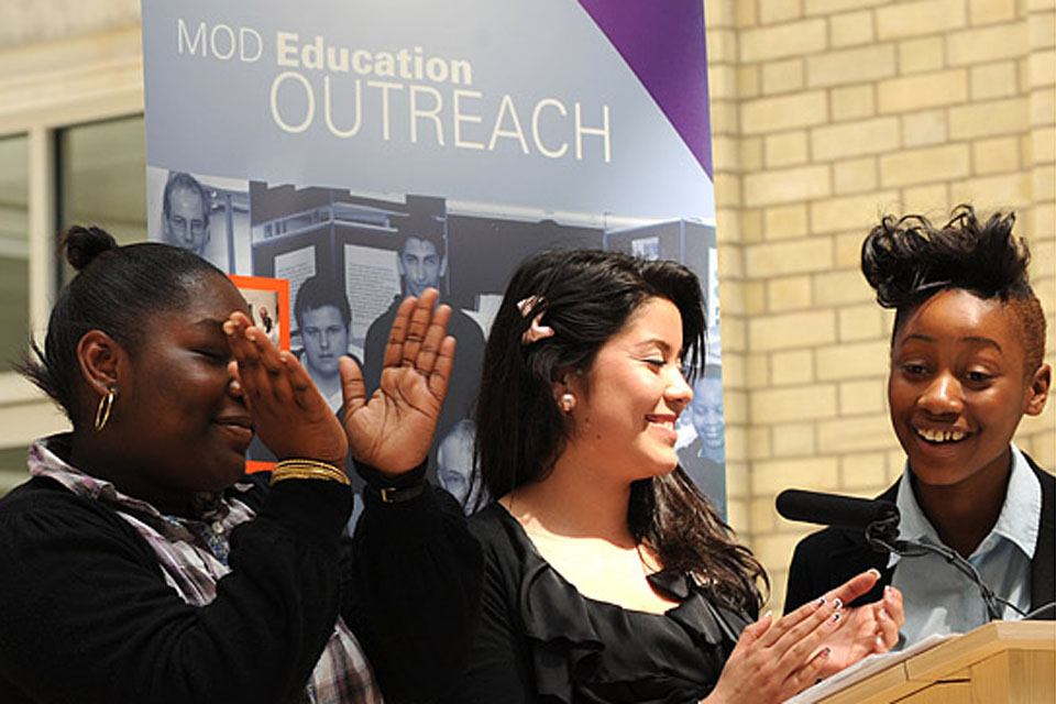 Young participants of the MOD Education Outreach Programme at the final celebration event, held at MOD headquarters in London