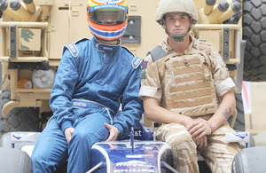 Racing driver Andrew Jarman (left) and Trooper Oliver Parsons