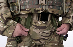 Frontal aspect of the new three-tier detachable pelvic body armour system