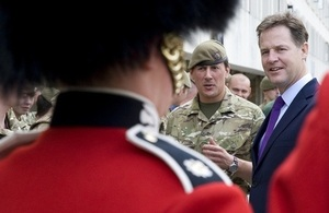 Nick Clegg visits F Company, part of the Scots Guards, in London.