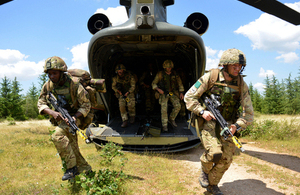 Members of 16 Air Assault Brigade exit a helicopter during the training exercise [Picture: Corporal Andy Reddy RLC, Crown copyright]
