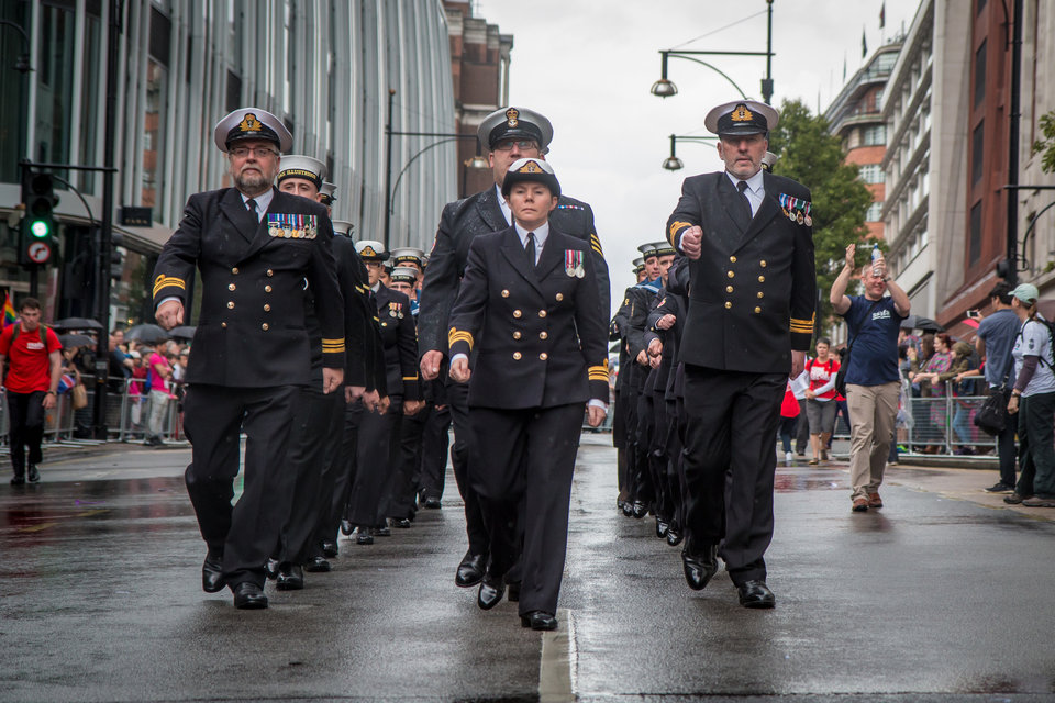 Royal Navy personnel taking part in Pride in London