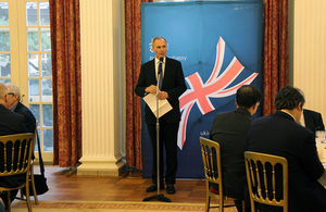 Tim Hitchens, British Ambassador to Japan, speaking at the event