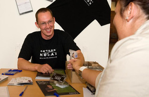 A soldier from 7th Armoured Brigade provides a saliva sample as part of registering as a bone marrow donor