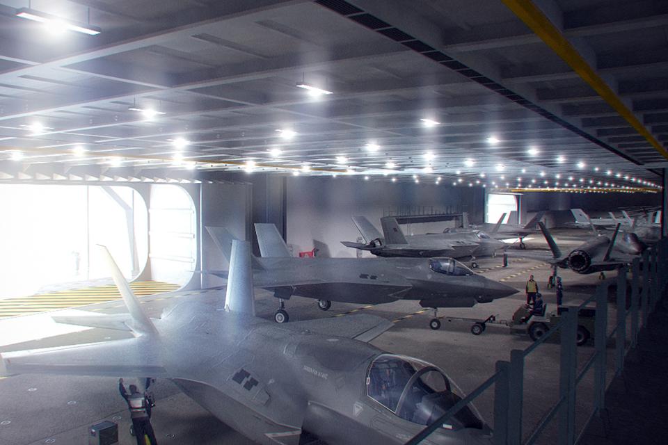 Lightning II jets inside HMS Queen Elizabeth's hangar