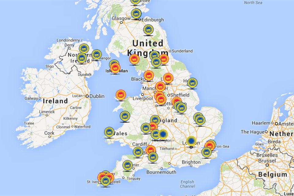 Map of protected food names in the UK