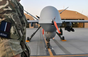 An RAF Reaper remotely-piloted aircraft at Kandahar Airfield in Afghanistan [Picture: Flight Lieutenant Tony Durrant, Crown copyright]