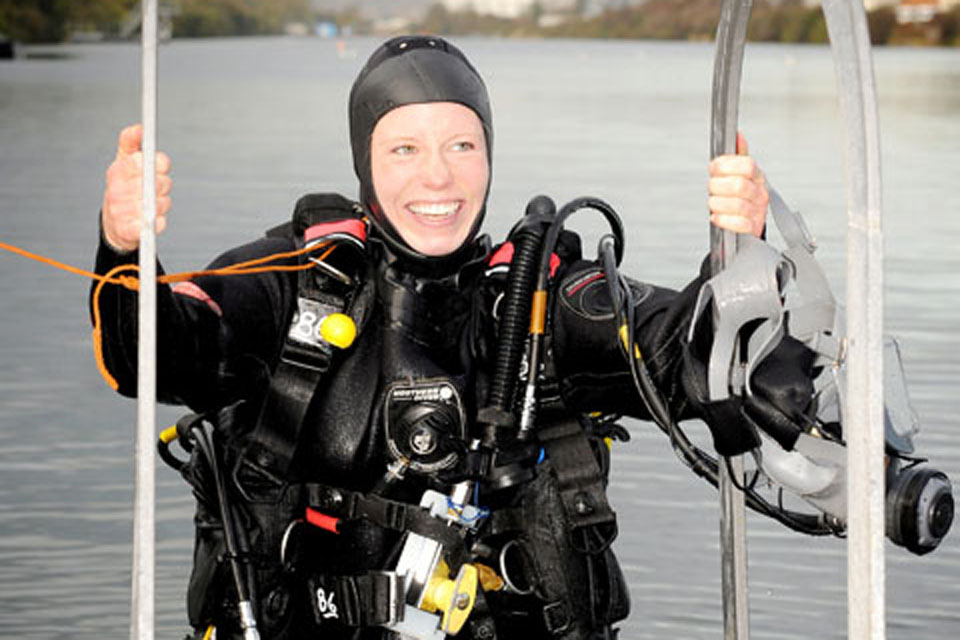 Lieutenant Catherine Ker in her diving gear