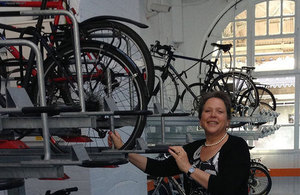 Baroness Kramer with bikes